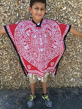 Mexican Poncho , Calendario azteca ,Blanket Serape Gaban , Kids, (6 - 12) white