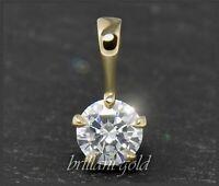 Diamant Brillant Anhänger; Solitär 0,70ct, River, Si2; 585 Gold, Damen Schmuck