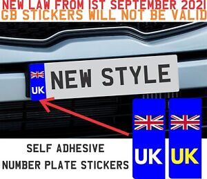 UK Car Vehicle Number Plate Vinyl Stickers Union Jack Flag - Replaces EURO BREXI