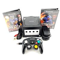 Nintendo GameCube Black Console Bundle Lot w/ 2 Games, Controller Cables Tested