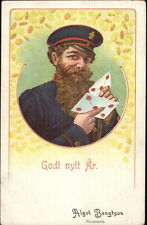 Norwegian New Year - Postman Mail Carrier w/ Letters c1905 Postcard