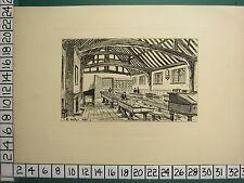 1885 PRINT STRATFORD-ON-AVON ~ THE GRAMMER SCHOOL INTERIOR ~ DESKS