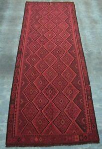 F1923 Vintage Handmade Tribal Hallway Antique Shirazi Kelim Runner 4'10 x 13 Ft