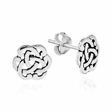 Sacred Celtic Knot Stud Earrings Handmade In Thailand .925 Sterling Silver 0.39""