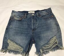 NEW Free People We The Free Distressed Boyfriend High Rise Jean Shorts Size 25