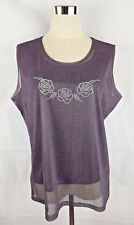 Suji Kim Sheer Back Floral Detail Womens Top Size XL BNWT