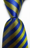 New Classic Striped Blue Yellow JACQUARD WOVEN 100% Silk Men's Tie Necktie