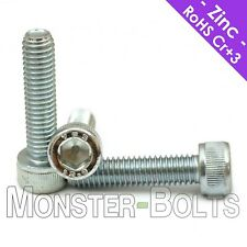 M6 - 1.0  Zinc Plated Socket Head Cap Screws, 12.9 Alloy Steel Cr+3 Bake DIN 912