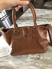 TORY BURCH CAMEL LEATHER TOTE BAG PURSE WITH DUSTER BAG CROSSBODY STRAP