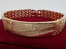 18K 18ct Yellow Gold GF Solid Id Identity Bar Watch band Women Men Bracelet New