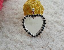 "5pcs 1 "" heart rhinestone Cameo setting DIY Blank Tray Necklace Pendant Black"
