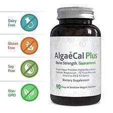 Natural Calcium and Magnesium Supplement - AlgaeCal Plus (90 Capsules) -