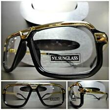 Mens CLASSIC VINTAGE RETRO Style Clear Lens EYE GLASSES Black Gold Fashion Frame