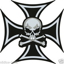 """Car sticker Sticker """"One smiling skulls in a cross"""" Black tag Cher For bikers."""