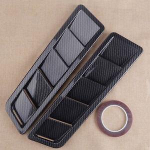 2x Universal Car Carbon Fiber Hood Vent Louver Cooling Panel Trim Accessories P