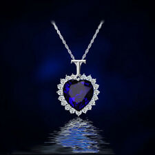 Fashion Jewelry Heart Of The Ocean Rhinestone Blue Crystal Pendant Necklace RU46