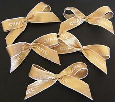 CHANEL 5 Pieces Chanel Ribbon / Bows Self-Adhesive Gold-White