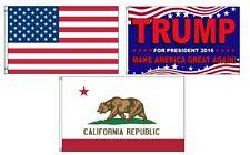 3x5 Trump 2016 & Usa American & State of California Wholesale Set Flag 3'x5'