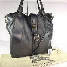 Authentic Rare Burberry Colney Black Leather Large Shoulder Satchel Tote Handbag