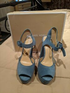 NEW MICHAEL KORS LONDON DENIM BLUE SUEDE PLATFORM PEEP TOE SHOES SIZE 9.5M