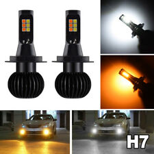 2x 160W H7 Car LED Fog Light Bulbs White+Amber Yellow Dual Color 1300LM DRL Lamp