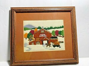 Vintage Finished Crewel Folk Art Textile Trees Needlepoint Feed Store  60s 70s