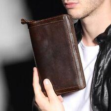NEW Vintage Mens High Quality Genuine Leather Wallet Purse Clutch Wrist Card Bag