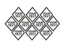 Diamond EMBROIDERED NAME TAG Sew on patch Quality Badge 10 pieces