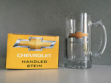 Genuine Chevrolet Yellow Chevy Badge Gift Boxed Large Beer Stein Glass