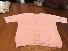 FAB Vtg. 1940/50's Summer Pink Beaded 100% CASHMERE Sweater/Hawick/Scotland