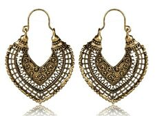 Earrings Hoop Golden Classic Ethnic Bronze Tribal Arabic Afghan Bohemian Kuchi