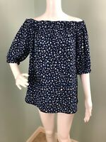 NWT Womens Michael Kors Blue Off The Shoulder Floral Print Blouse Top Sz Small