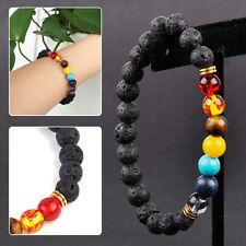 7 Chakra Lava GEMSTONE Beaded Bangle Agate Wrist Bracelet Accessory Yoga Prayer