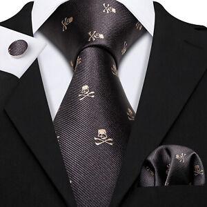 Novelty Silk Mens Tie Black Skull Necktie Hankerchief Cufflinks Set Prom Funeral