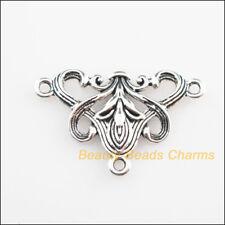 10Pcs Tibetan Silver Tone Triangle Flower Charms Connectors 20x31mm