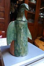 ancienne terre cuite vernissée animal  pingouin pot à couvercle