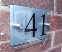 MODERN HOUSE SIGN PLAQUE DOOR NUMBER STREET GLASS ALUMINIUM EFFECT ACRYLIC