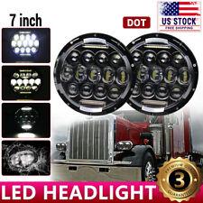 "DOT Pair Black 7"" Round LED Hi/Lo Beam Headlights for Peterbilt 379 359 Trucks"