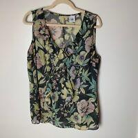 Cabi Women's Sleeveless Top Size Large #3265 Ruffle Tank Layered Blouse Floral