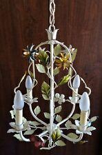 jolie Lustre végétal à quatre feux en métal peint
