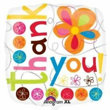 Thank You Colourful Flowers Foil Balloon 45cm Multi Colour Party Decorations