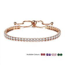Gold Adjustable Bridesmaid Tennis Bracelet Rhinestone Cubic Zirconia Crystals UK