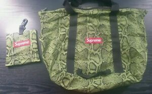 Very rare SS12 Supreme snakeskin tote bag green box Logo packable vintage