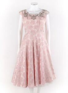 Vtg COUTURE c1950s Pink Floral Brocade Glass Beaded Asymmetrical Hem Party Dress
