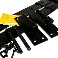 """GATEMATE® 300mm (12"""") STRAIGHT BAND & HOOK GATE HINGES EPOXY BLACK WITH FIXINGS"""