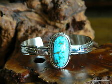 New Sterling Silver NAVAJO Turquoise Cuff Bracelet SIGNED Richards