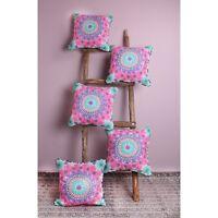 Handmade Suzani Embroidery Pillow Case Throw 5 PCs Set Cushion Cover Sofa Decor