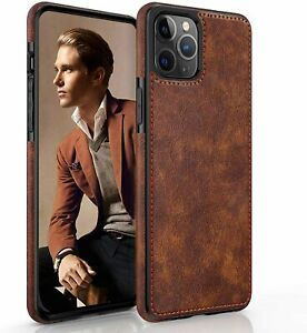 For iPhone 12 Pro Max Leather Case Slim Luxury Non-Slip Rugged Bumper Shockproof