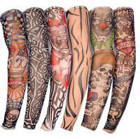 6PCS Tattoo Sleeve Sun UV Protection Stretch Arm Cover Cycling Driving Costume A