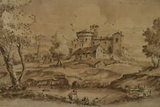 18th C Old Master Drawing Castle River Fishing Cattle French Hubert Robert Style